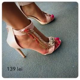 Sandale cu toc Cezar Bej
