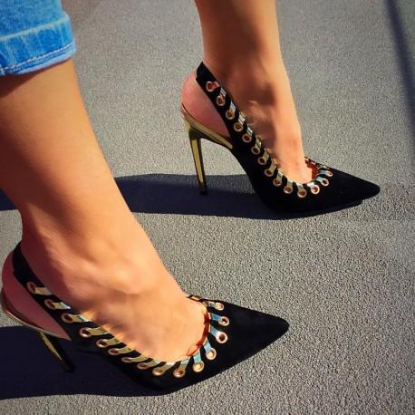 sandale piele perforata trompet negre