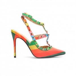 Sandale cu tinte model Valentino Portocalii
