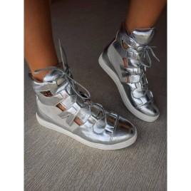 pantofi sport decupati helgy arginiu metalizat