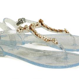Sandale Epica argintii, cu floricele