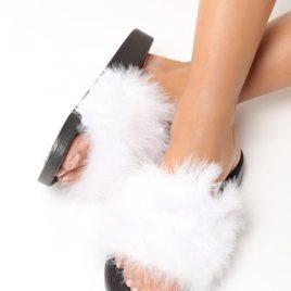 papuci cu puf leyla albi