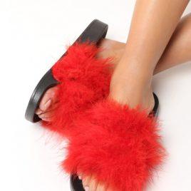 papuci cu puf leyla rosii