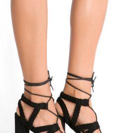 Sandale cu toc gros Paola Negre