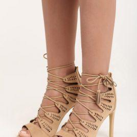 Sandale cu toc Evelyn Bej