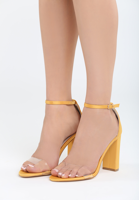 Sandale cu toc Muneque Galbene 1