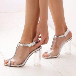 Sandale transparente Mystery Argintii