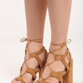 Sandale cu toc gros Paola Camel