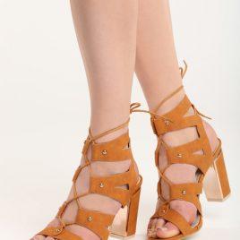 Sandale cu toc Yvette Camel