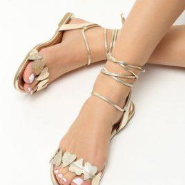 Sandale cu snur Ivona Aurii