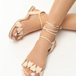 Sandale cu snur Ivona Bej