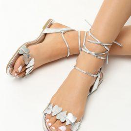 Sandale cu snur Ivona Argintii