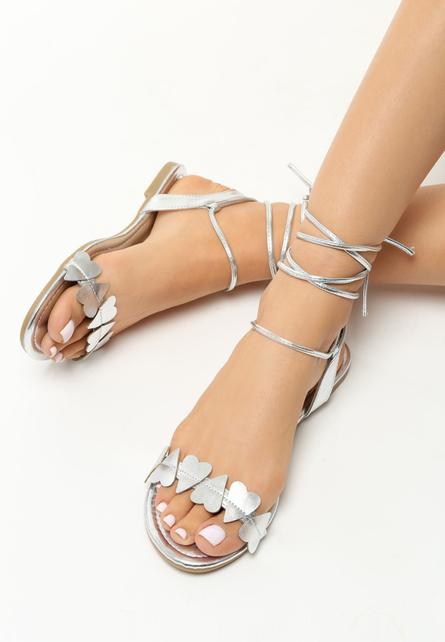 Sandale cu snur Ivona Argintii 1