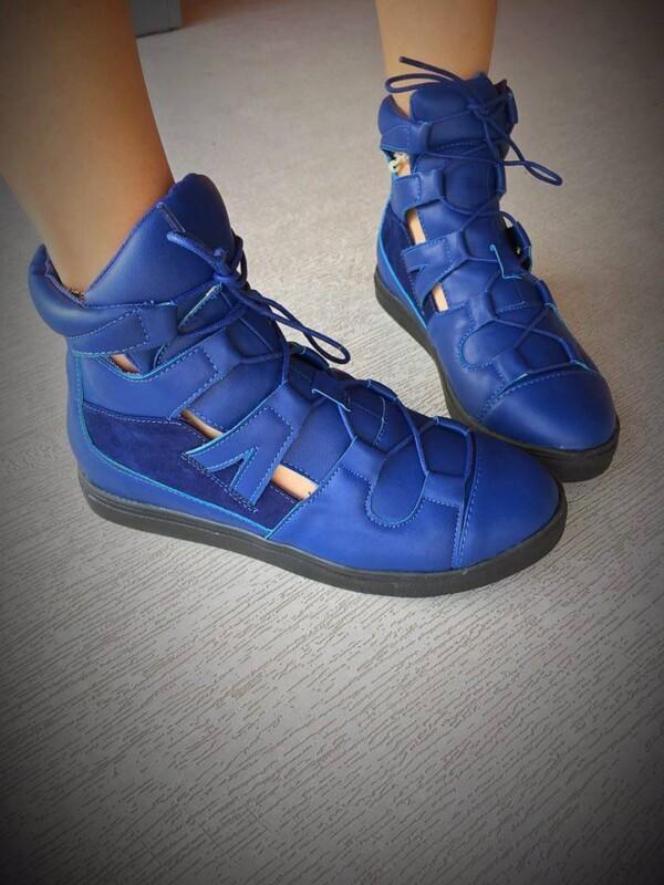pantofi sport decupati helgy albastri