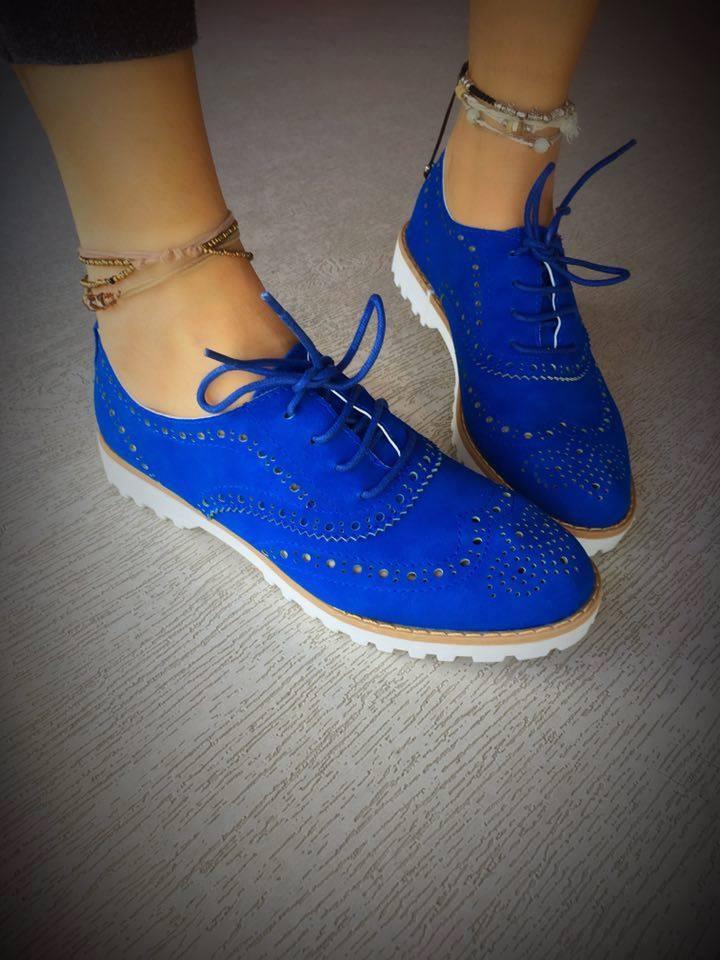 pantofi oxford cu siret delta albastri