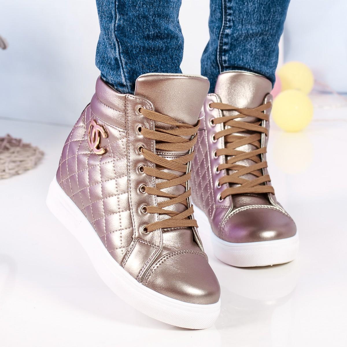 sneakers dama ambra argintii