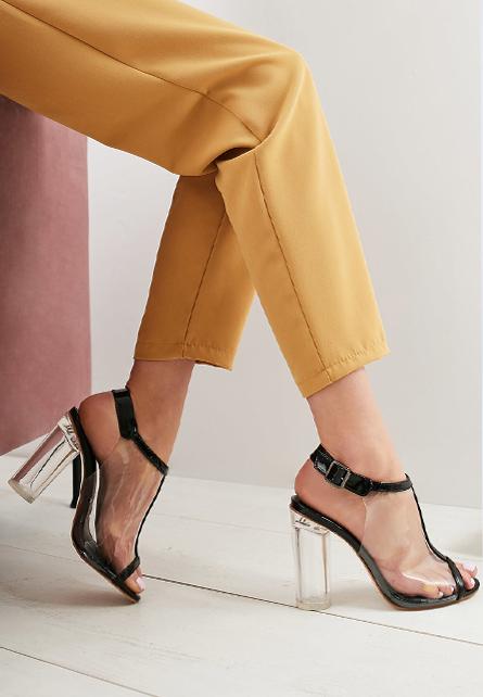 Sandale transparente Mystery Negre