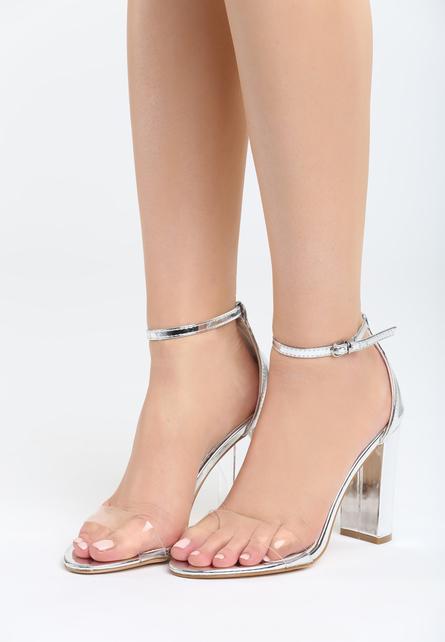 Sandale cu toc Muneque Argintii