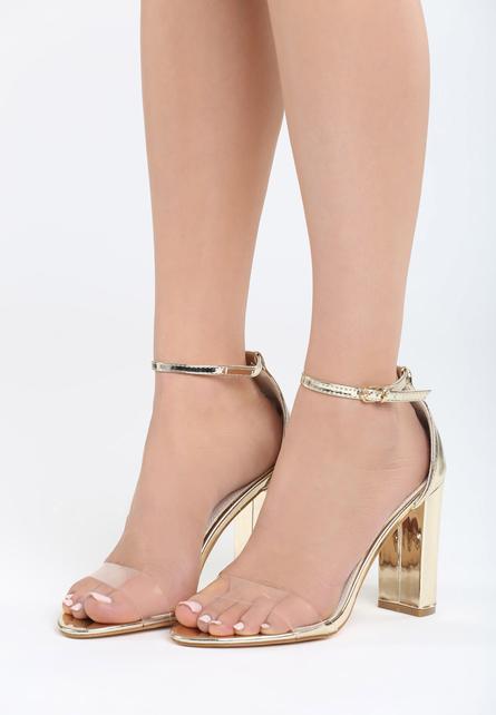 Sandale cu toc Muneque Aurii