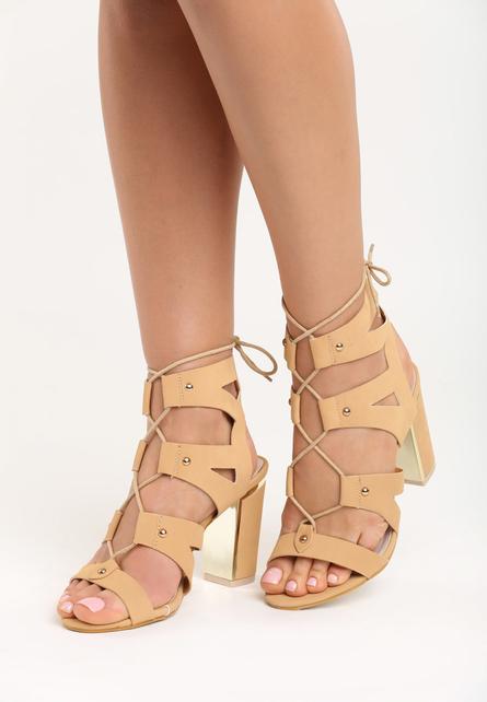 Sandale cu toc Yvette Bej
