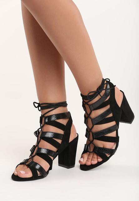 Sandale cu snur pe picior Isra Negre