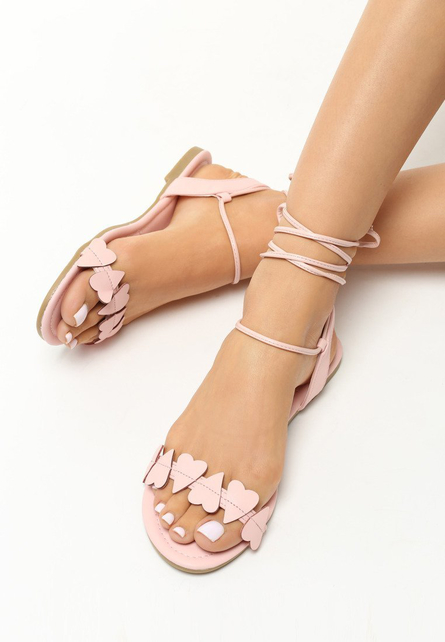 Sandale cu snur Ivona Roz