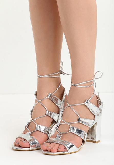 Sandale cu toc gros Medina Argintii