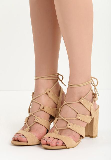 Sandale cu toc gros Medina Camel